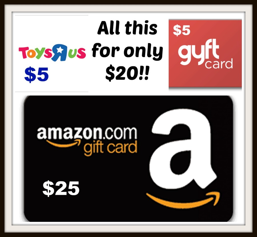 25 amazon  5 toys r us  5 gyft gift cards for only